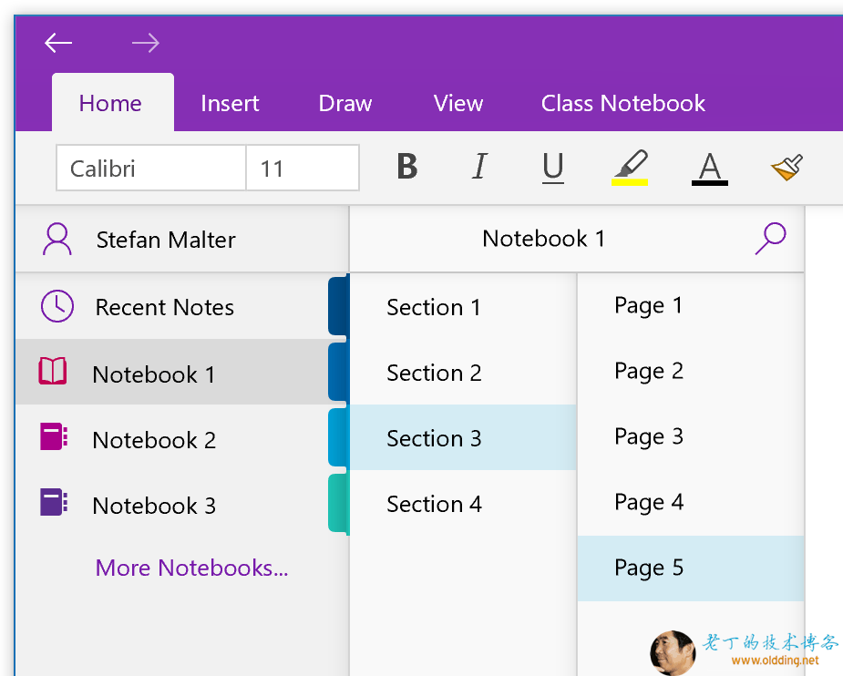 OneNote App for Windows 10 with notebooks and sections